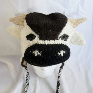 Knit COW BULL Flap HAT Cap Beanie